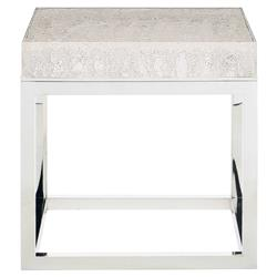 Uma Modern Classic Square Acrylic Silver Stainless Steel End Table