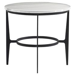 Cleo Modern Classic Round White Faux Marble Top Black Metal End Table