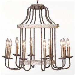 Adele French Cottage Rustic Chipped White Rust 10 Light Chandelier