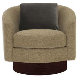 Dulce Modern Classic Brown Upholstered Dark Wood Swivel Arm Chair