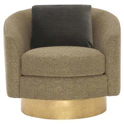 Dulce Modern Classic Brown Upholstered Gold Wood Swivel Living Room Chair