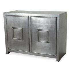 Park Avenue Hollywood Regency Style Silver Leaf Cabinet