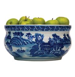Summer Palace Chinese Hand Painted Blue White Basin Fruit Bowl | P68-ACCS-154-02