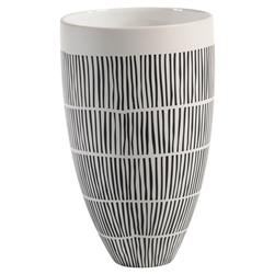 "Jamie Modern Classic Black & White Lines 10.5""  Ceramic Vase"