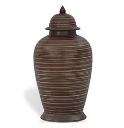 Mesa Carved Brown Modern Southwestern Ginger Jar | P68-ACAS-116-03