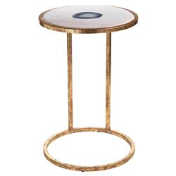 Ferry Industrial Loft Blue Agate and White Marble and Gold Leg Side Table