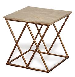 Contemporary French Gold Crossing Accent Side Table | P68-AFDS-165-02