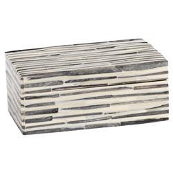 "Peter Modern Classic 6"" Rectangular Grey and White Dyed Bone Decorative Box"