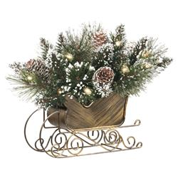"""Earl 10"""" Glittery Bristle Pine Sleigh Centerpiece with Pine Cones and Lights"""