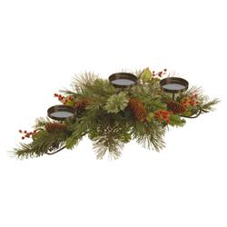 """Noah 30"""" Wintry Pine Centerpiece Candleholder with Pine Cones and Red Berries"""