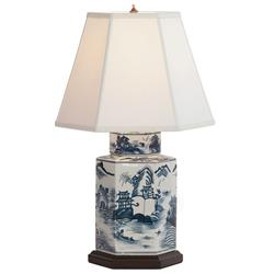 Canton Blue White Contemporary Handpainted Table Lamp - 23H