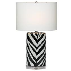 "Kenya Modern Black and White Zebra Print Tea Jar Table Lamp- 28""H"
