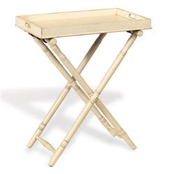 "Devon Butler Beach Style Folding Tray Table Ivory 36""H 