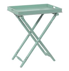 "Devon Butler Beach Style Folding Tray Table Turquoise 36""H 