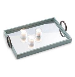 Drake Contemporary Mirrored Turquoise Blue Wood Tray | P68-ACGS-142-05