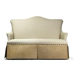 French Country Jute Linen Skirted Dining Settee Banquette Seat | 60-3 3 SEAT SOFA