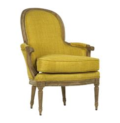 Emeze French Saffron Yellow Carved Wood Accent Bergere Occasional Arm Chair