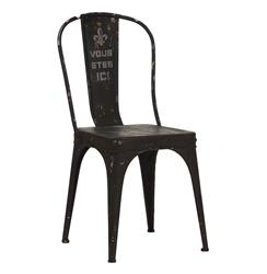 Vous Etes Ici French Iron Rustic Black Cafe Chair