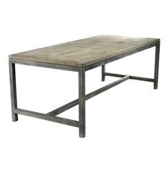 Abner Industrial Modern Rustic Bleached Oak Grey Dining Table