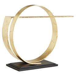 Arteriors Nasher Hollywood Regency Gold Leaf Black Iron Band Sculpture