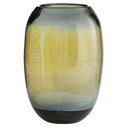 Arteriors Marek Global Bazaar Grey Gold Silveria Smoke Glass Vase