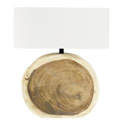 Mandara Natural Wood Plank Circle Table Lamp