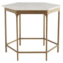 Arteriors Mae Hollywood Regency White Marble Top Gold Antique Brass Iron Hexagon Side End Table