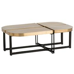 Arteriors Cyndi Hollywood Regency Gold Antique Brass Black Iron Coffee Table