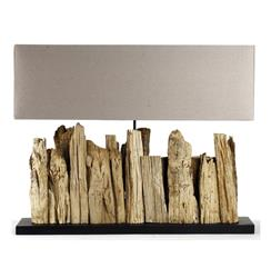 Vertico Riverine Root Modern Rustic Burlap Shade Table Lamp- Long