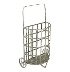 French Antique Farmhouse Cottage Style Iron Shopping Floral Cart