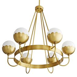 Arteriors Cleo Hollywood Regency Gold Antique Brass Steel White Opal Glass Globes Chandelier