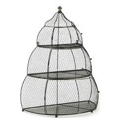 Kent French Country Black Iron 3 Tier Bird Cage Plant Holder - 31 Inch