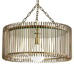 Arteriors Oren Industrial Loft Gold Antique Brass Iron Chandelier