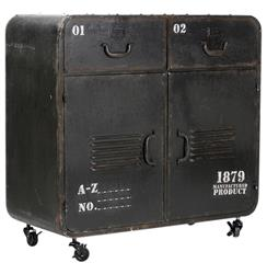 Industrial Loft Military Style Old Iron Rolling Cabinet Locker Console | PC039