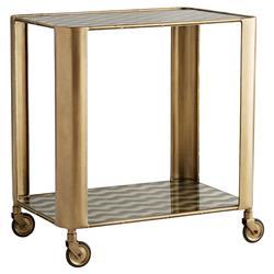 Arteriors Tinsley Hollywood Regency Gold Vintage Brass Iron Glass Bar Cart