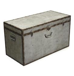 Industrial Loft Rustic Iron Grey Rust Lock Floor Trunk