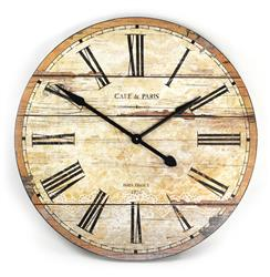 Cafe de Paris Rustic French Cottage Style Old Wood Wall Clock | PC009