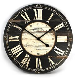 Hotel Westminster Rustic Cottage Black White Large Wall Clock | PC010