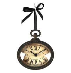 Pocket Watch Style Vintage French Rustic Ribbon Horizontal Oval Wall Clock | PC019