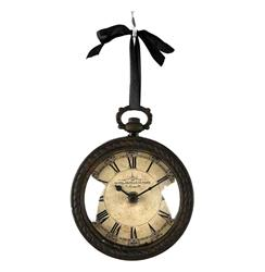 Pocket Watch Style Vintage French Rustic Ribbon Round Wall Clock