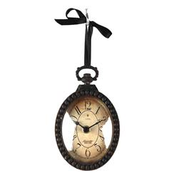 Pocket Watch Style Vintage French Rustic Ribbon Vertical Oval Wall Clock | PC021