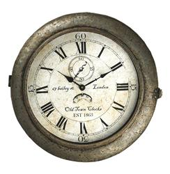Bailey Street Industrial Rustic Large Round Wall Clock | PC036