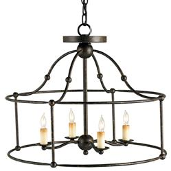 Open Frame Industrial 4 Light Ceiling Mount Chandelier