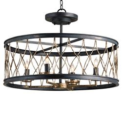 French Black Open Lantern 4 Light Ceiling Mount