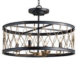 French Black Open Lantern 4 Light Ceiling Mount