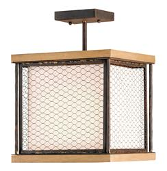 Industrial Chic Wood Wire Mesh 1 Light Ceiling Mount | CC-9903