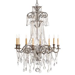 Lillian Elegant Silver Leaf Crystal Bead 8 Light Chandelier- 45 Inch