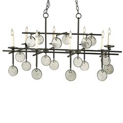 Semana Iron Recycled Glass Disc 8 Light Island Chandelier
