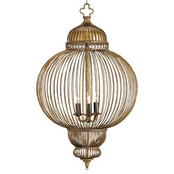Claydon Antique Gold Moroccan Style 3 Light Lantern Pendant