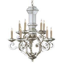 Mondrian Hollywood Regency Antique Mirror 10 Light Chandelier